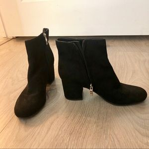 MARC FISHER Low Ankle Suede Black Boots Booties 6